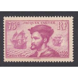 TIMBRE N°296  JACQUES CARTIER 1934 NEUFS** SIGNES COTES 110 Euros L'art des gents