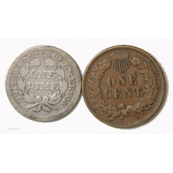 USA - One Dime 1886 et One cent 1890