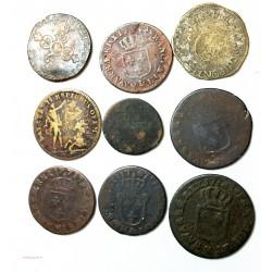 Lot de Louis XIV à Louis XVI, 6 deniers, sol, demi sol, liard et jetons