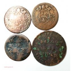 ETATS PONTIFICAUX - 3 x Mezzo Baiocco 1802 et 5 baiocco 1797