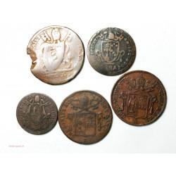 ETATS PONTIFICAUX - lot de 5 monnaies de 1802 à 1849