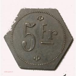 JETON Aluminium 5 francs SPHINX fabrique de pipe