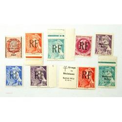"""TIMBRES """"Emission de la libération"""" 1944 Montreil-bellay cote +500€"""