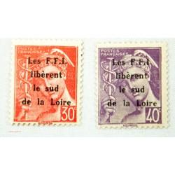 """TIMBRES """"Emission de la libération"""" 1944 Montreil-bellay cote 216€"""