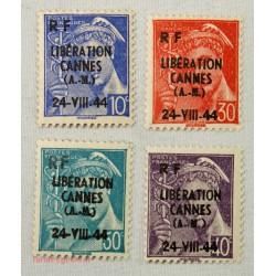 """TIMBRES """"Emission de la libération"""" 1944 CANNES"""