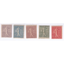 TIMBRE TYPE SEMEUSE N° 129 à 133 ANNEE 1903  NEUFS Cote 368 Euros
