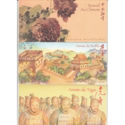LOT de 3 BLOCS SOUVENIRS NOUVEL AN CHINOIS NEUFS** - COTE 31 Euros - L'ART DES GENTS