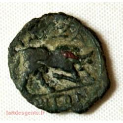 GAULOISE - Petit bronze au taureau palme derrière la tête