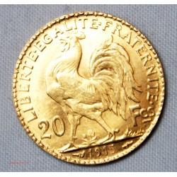 FAUX 20 Francs or 900/00 22 carats Coq 1915 (pas à la vente)