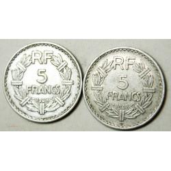 LAVRILLIER - 5 Francs 1948 fermé et 1948 B ouvert