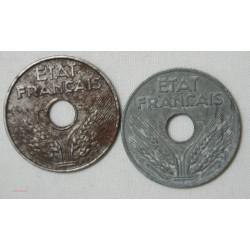 ETAT FRANCAIS - 20  centimes 1944 fer et zing