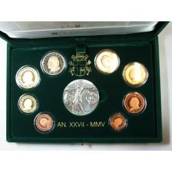 VATICAN EURO - belle épreuve Coffret 1 centime à 2 euro 2005
