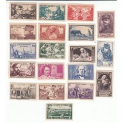 TIMBRES ANNEE COMPLETE 1940 N°451 à N°469 NEUFS** COTE 207 Euros l'Art des Gents