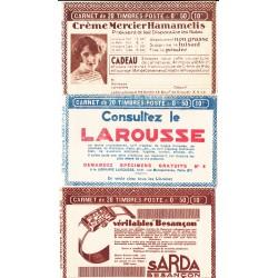 Lot de 3 Carnets TYPE FACHI - 50 c. rouge N°272  incomplets L'ART DES GENTS