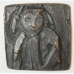 Médaille Plaque Art déco, La Penseuse non signée 156g 70x70mm