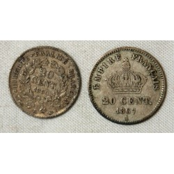 FRANCE - 20 Cent. 1850 A + 20 Cent. 1867