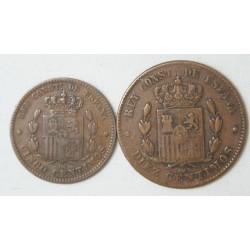 ESPAGNE - 5 et 10 centimos de Alfonso XII 1877 OM