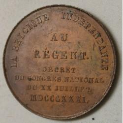MEDAILLE BELGIQUE, Baron E.L. Surlet de Chokier, régent de Belgique