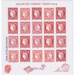 FEUILLET SALON DU TIMBRE 2014 Cérès gravé NEUF** COTE 160 EUROS L'ART DES GENTS