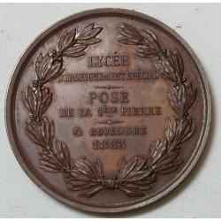 Médaille Ville de Tourcoing, pose de la 1ère pierre Lycée Spécial 1883