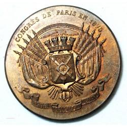 Médaille Congrès de Paris 1875, Topographie de France bronze 35.4grs