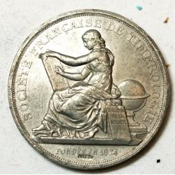Médaille Sté Française de Timbrologie fondée en 1875 (étain)