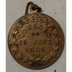 Médaille jeton, CONCOURS INTER. de pompe à Incendie CREIL 1905