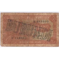 BANQUE EMISSION DU RWANDA ET BURUNDI 5 FRANCS 1963 B L'ART DES GENTS