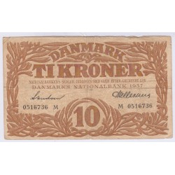 BILLET DU DANEMARK 10 TIKRONER 1938 L'art des gents Avignon