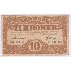 BILLET DU DANEMARK 10 TIKRONER 1937 L'art des gents Avignon