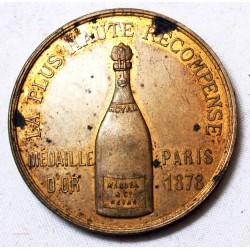 Médaille plus haute récompense en 1878 pour Champagne Manuel & Co REIMS