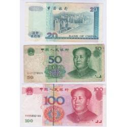 LOT 3 BILLETS DE CHINE 20 50 100 YUAN L'ART DES GENTS AVIGNON
