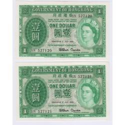 LOT 2 BILLETS DE HONG KONG 1 DOLLAR 1959 N° SUIVIS P/NEUFS L'ART DES GENTS