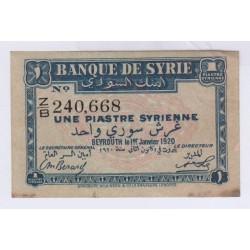 BILLET DE SYRIE 1 PIASTRES 1920 SUP L'ART DES GENTS AVIGNON