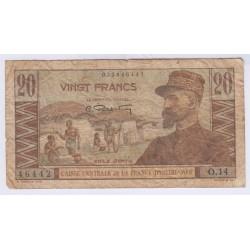 BILLET CAISSE CENTRALE DE LA FRANCE D'OUTRE MER- 20 FRANCS- L'ART DES GENTS AVIGNON
