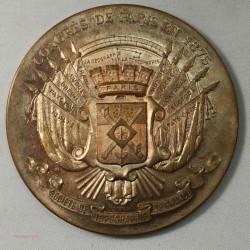 Médaille Congrès de Paris 1875, Topographie de France bronze 60grs