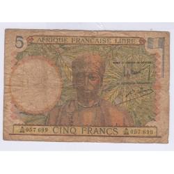 BILLET DE BANQUE DE L'AFRIQUE FRANCAISE LIBRE 5 FRANCS L'ART DES GENTS AVIGNON