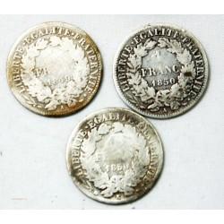 lot de 1 Franc Cérès 1849 A, 1850 A + 1850 K Brdeaux