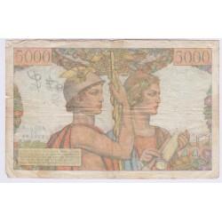BILLET FRANCE 5000 FRANCS TERRE ET MER 1949 L'ART DES GENTS AVIGNON