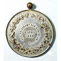 """Médaille Léopold II roi des Belges """"VEE PRIJSKAMP VAN KORTRIJK, 9 April 1900"""""""