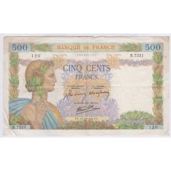BILLET FRANCE 500 FRANCS LA PAIX 1942 L'ART DES GENTS AVIGNON