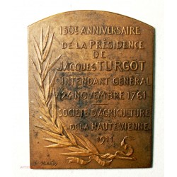 Médaille  plaque bronze  150e Anniversaire Présidence de J. TURGOT 1911
