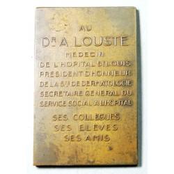 Médaille  plaque bronze  DR. achille louste 1876-1934 par DE HERAIN