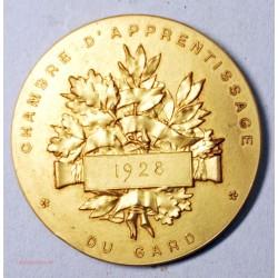 Médaille  bronze doré, chambre d'apprentissage du Gard 1928 par F. VERNON