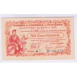 BILLET 50 Centimes CHAMBRE DE COMMERCE PERPIGNAN PAPIER EPAIS NEUF 24-06-1915 RARE