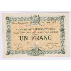 BILLET SPECIMEN 1 FRANC CHAMBRE DE COMMERCE AVIGNON NEUF 1914-1917