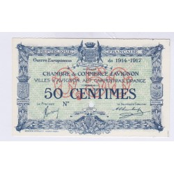 BILLET SPECIMEN 50 Centimes CHAMBRE DE COMMERCE AVIGNON NEUF 1914-1917