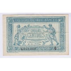 BILLET DE 50 Centimes TRESORERIE AUX ARMEES 1917 LETTRE G SUP L'ART DES GENTS