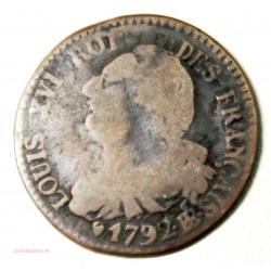 LOUIS XVI 6 deniers 1792 BB Strasbourg TB