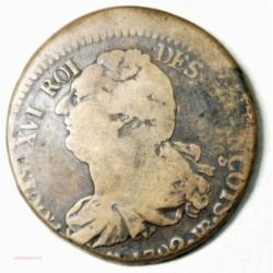 LOUIS XVI 2 SOLS 1792 BB Stasbourg, décentrée, L'ART DES GENTS AVIGNON